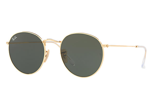 Ray ban RB3447N Green Classic G 15 ROUND FLAT LENSES Gold