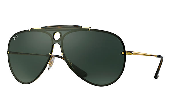 This pair of Ray-Ban® RB3581N 001/71 32 Blaze Shooter Sunglasses in Gold Green are this year's must have on trend look.